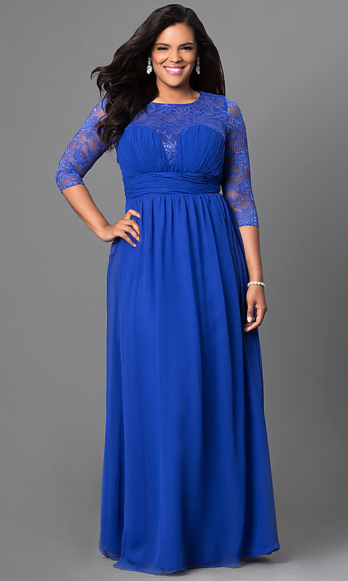 Image of long sweetheart prom dress with lace sleeves. Style: NA-5118 Detail Image 1