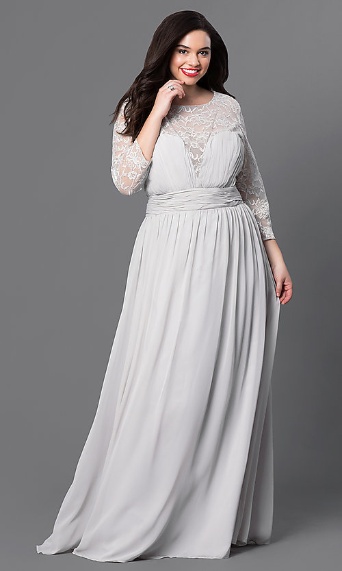 Image of long sweetheart prom dress with lace sleeves. Style: NA-5118 Detail Image 2