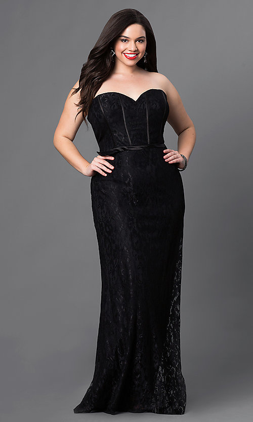 Image of long lace corset dress with sweetheart neckline, bustier bodice and lace-up back Style: DQ-9062 Detail Image 3