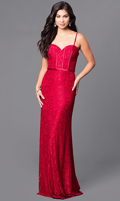 Image of long lace corset dress with sweetheart neckline, bustier bodice and lace-up back Style: DQ-9062 Front Image