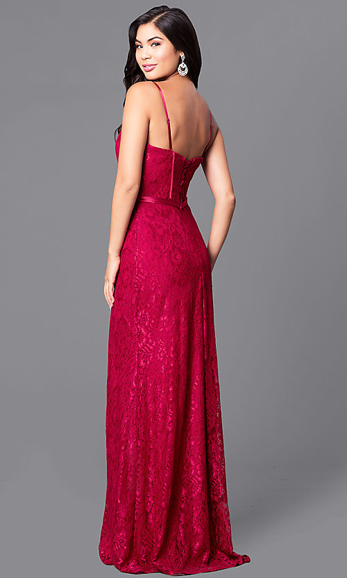Image of long lace corset dress with sweetheart neckline, bustier bodice and lace-up back Style: DQ-9062 Back Image