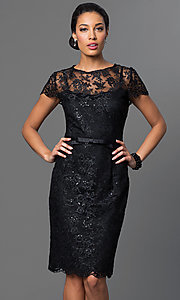 Black Lace Knee Length Short Sleeve Party Dress
