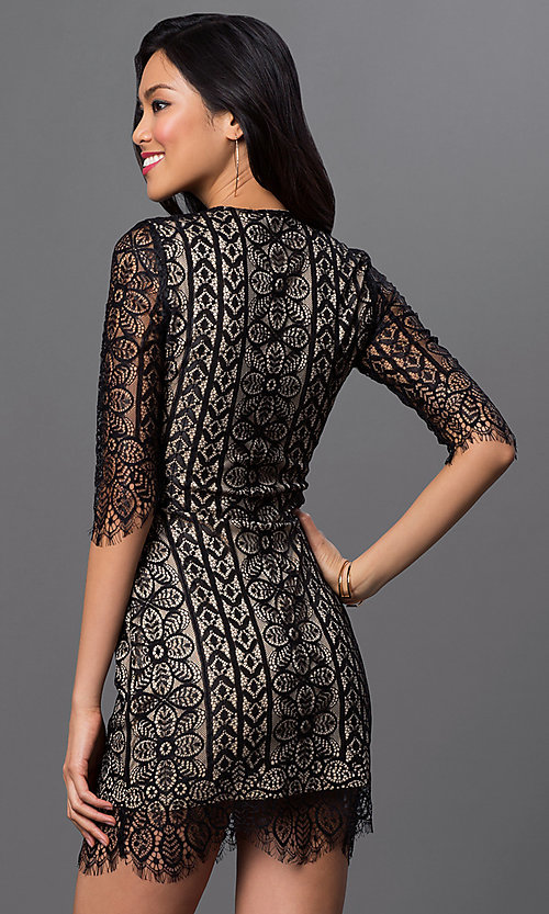 Image of short lace dress with 3/4 length sleeves Style: LUX-LD1914 Back Image