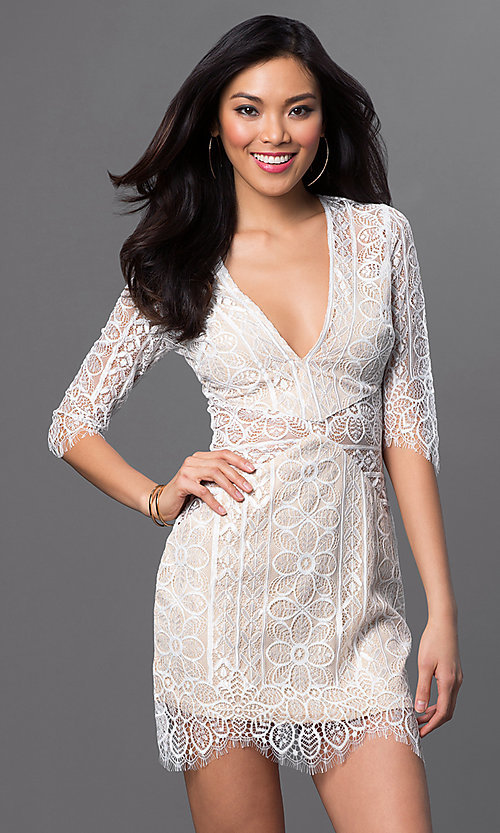 Image of short lace dress with 3/4 length sleeves Style: LUX-LD1914 Detail Image 2