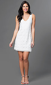 Image of lace v-neck sleeveless dress by As U Wish Style: AS-i322656h1 Detail Image 1