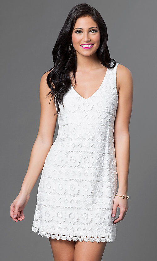 Image of lace v-neck sleeveless dress by As U Wish Style: AS-i322656h1 Front Image