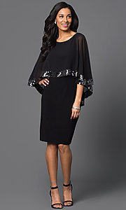 Image of knee-length black party dress with attached cape. Style: SD-s275090 Detail Image 1