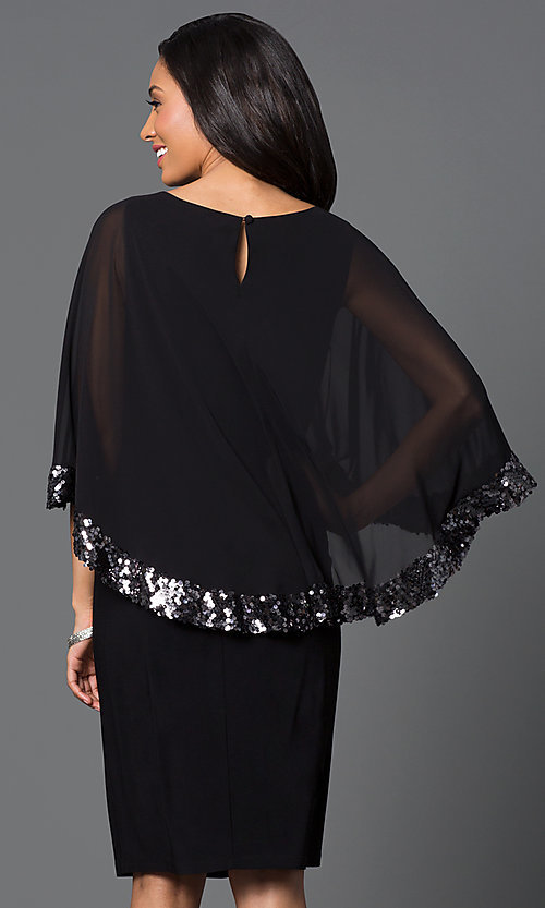 Image of knee-length black party dress with attached cape. Style: SD-s275090 Back Image