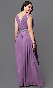 Image of long V-neck dress pleated bodice with jeweled waist and jewel embellished cap sleeves Style: DQ-9182P Back Image