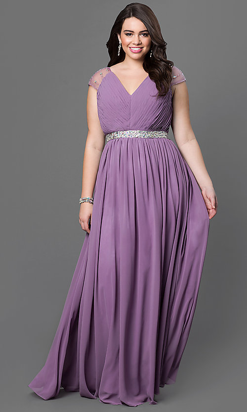 Image of long V-neck dress pleated bodice with jeweled waist and jewel embellished cap sleeves Style: DQ-9182P Front Image