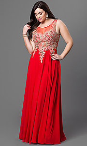 Long Sleeveless Plus Size Sheer Back Prom Dress