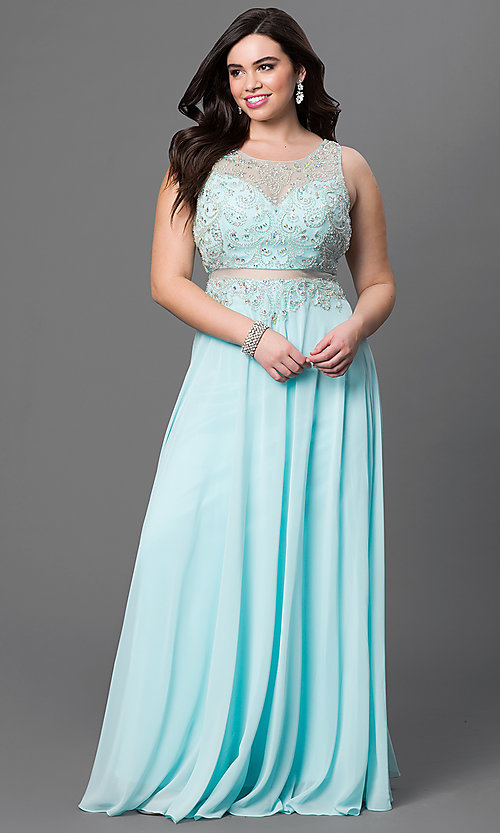 Image of plus-size long sleeveless mock two-piece chiffon dress  Style: DQ-9150P Front Image