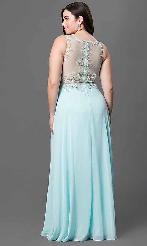 Image of plus-size long sleeveless mock two-piece chiffon dress  Style: DQ-9150P Back Image