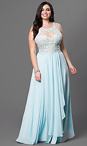 Image of long plus-size prom dress with jeweled lace illusion. Style: DQ-8871P Front Image