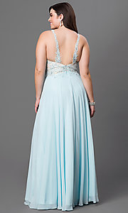 Image of long plus-size prom dress with jeweled lace illusion. Style: DQ-8871P Back Image