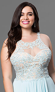 Image of long plus-size prom dress with jeweled lace illusion. Style: DQ-8871P Detail Image 1