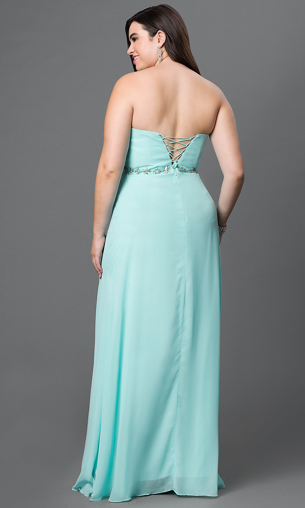 Cheap Plus-Size Prom Dress with Empire Waist-PromGirl