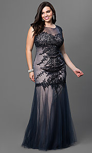 Image of plus-size long prom dress by Elizabeth K. Style: FB-GL1309HP Front Image