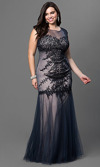 Long Elizabeth K Plus-Size Prom Dress - PromGirl