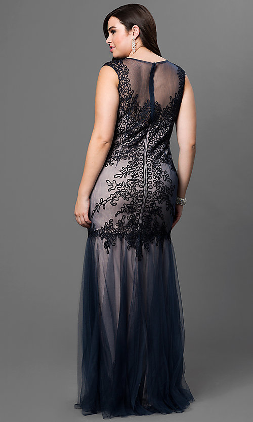Image of plus-size long prom dress by Elizabeth K. Style: FB-GL1309HP Back Image