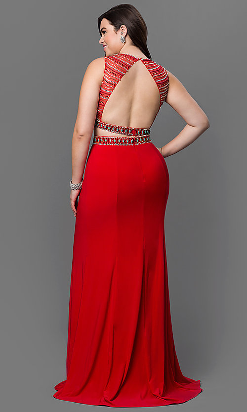 Image of long two-piece open-back plus-size prom dress. Style: NA-8174P Back Image