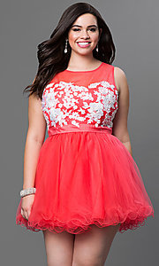 Short Sleeveless Plus Dress with Floral Appliques