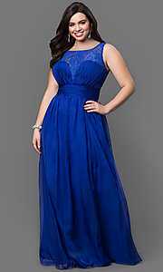 Lace Top Floor Length Sleeveless Plus Dress