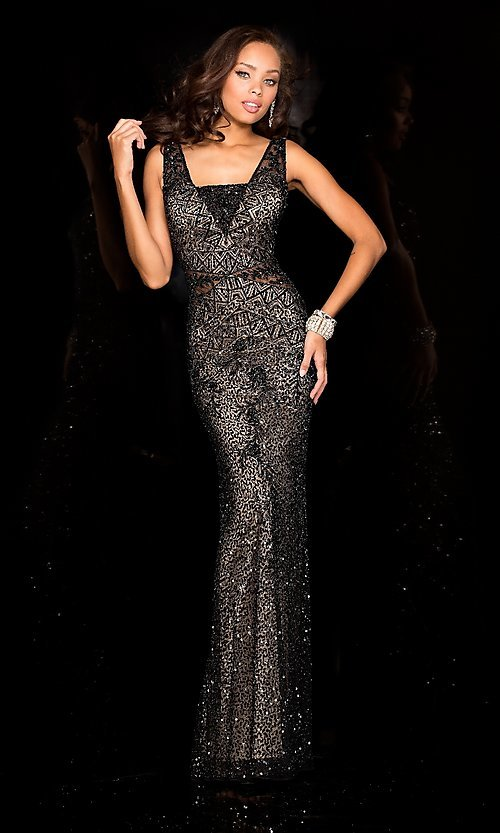2ff33fc000f Open Back Sequin Long Prom Dress by Scala