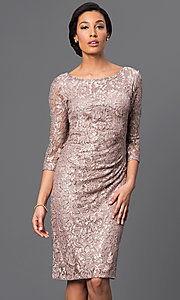 Ruched 3/4 Length Sleeve Knee Length Lace Dress