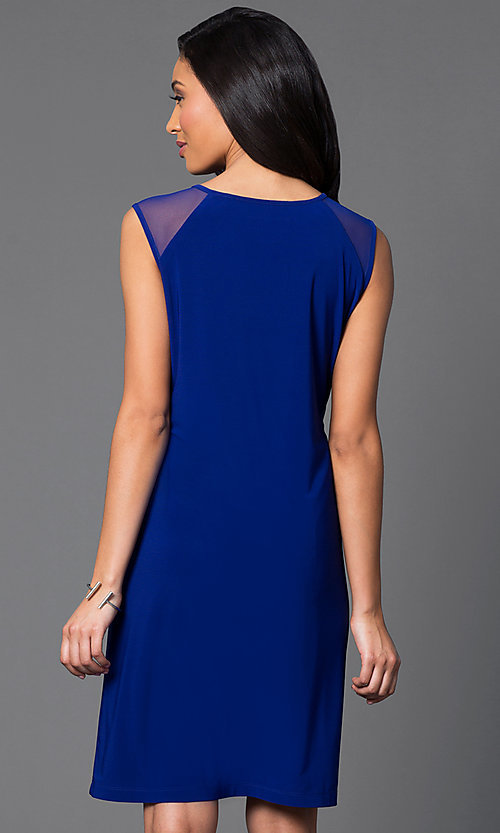 Image of knee-length sleeveless dress with sheer shoulders. Style: SD-s275510 Back Image