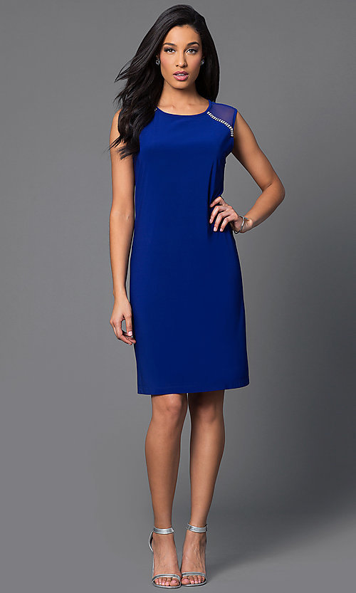 Image of knee-length sleeveless dress with sheer shoulders. Style: SD-s275510 Detail Image 1