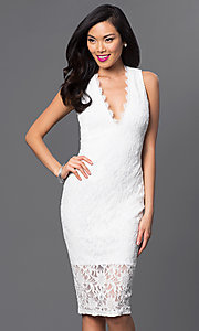 Lace V-Neck Knee Length Jump Dress