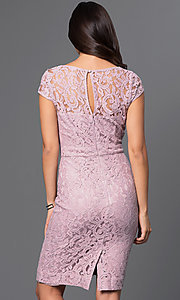 Image of short lace Marina cap-sleeve dress. Style: JU-MA-262715 Back Image