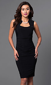 Image of knee-length ruched dress with Cutout Neckline Style: JU-MA-262970 Detail Image 2