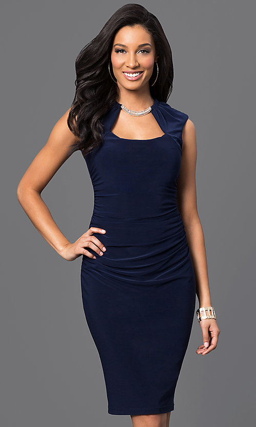 Image of knee-length ruched dress with Cutout Neckline Style: JU-MA-262970 Front Image