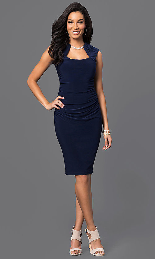 Image of knee-length ruched dress with Cutout Neckline Style: JU-MA-262970 Detail Image 1