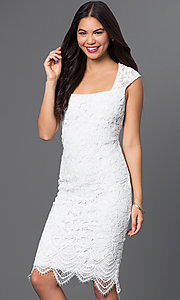 Short Lace Square Neck Knee Length Dress