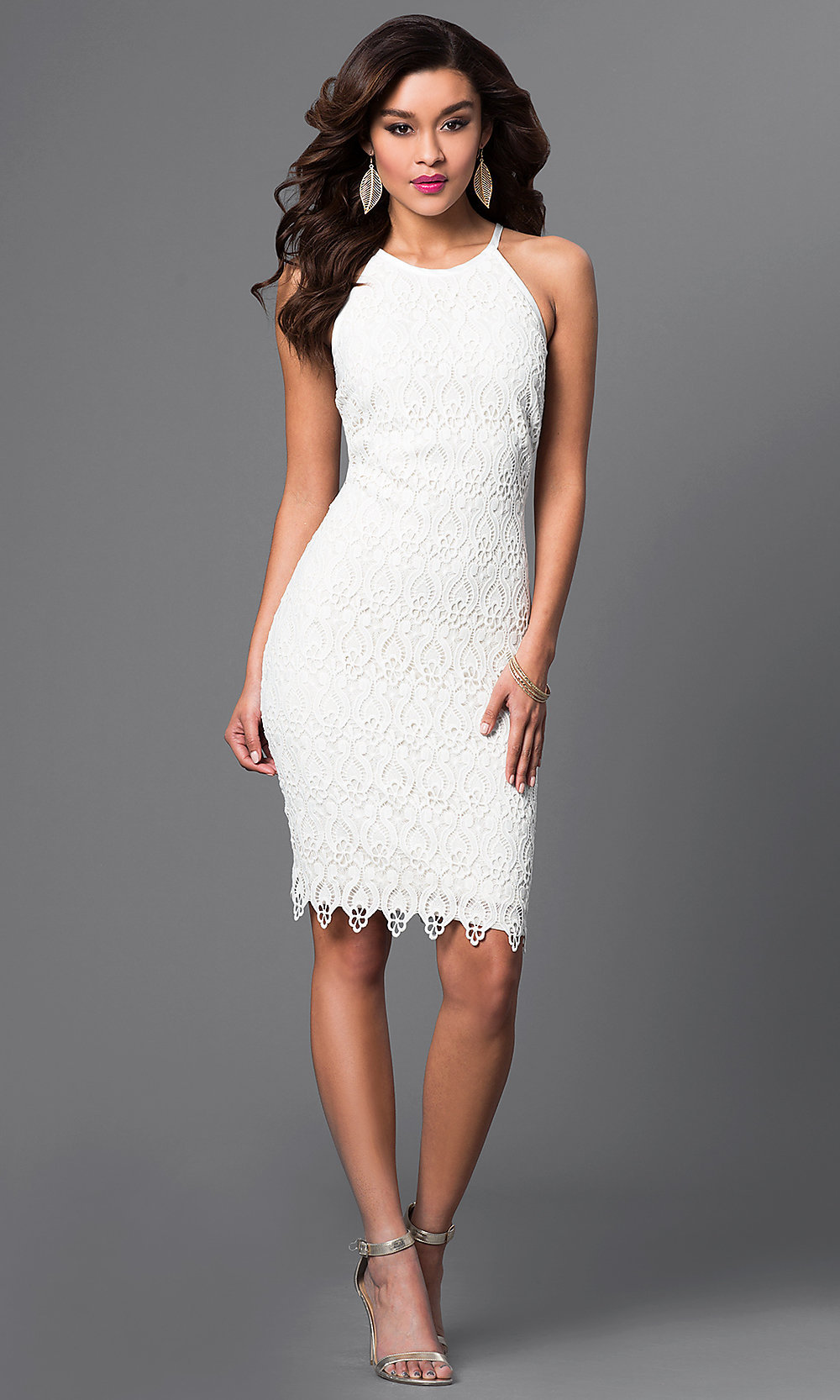Semi-Formal Lace Rehearsal-Dinner Dress - PromGirl