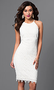 White Lace Knee-Length Spaghetti-Strap Short Dress