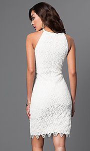 Image of white lace knee-length spaghetti-strap short dress Style: JU-MA-262419 Back Image
