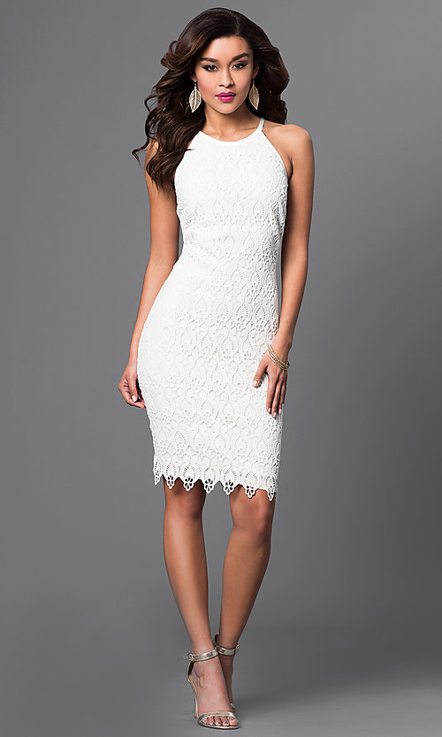 Image of white lace knee-length spaghetti-strap short dress Style: JU-MA-262419 Detail Image 1
