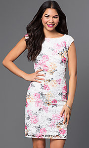 Short Floral Print Lace Dress by Marina