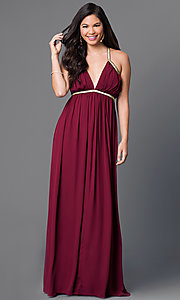 Image of long v-neck empire-waist dress with gold accents Style: CQ-5229DW Front Image