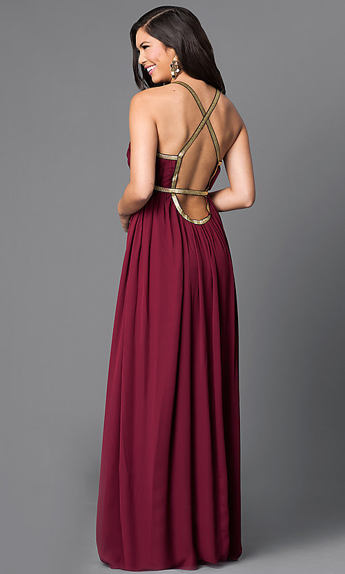 Image of long v-neck empire-waist dress with gold accents Style: CQ-5229DW Back Image