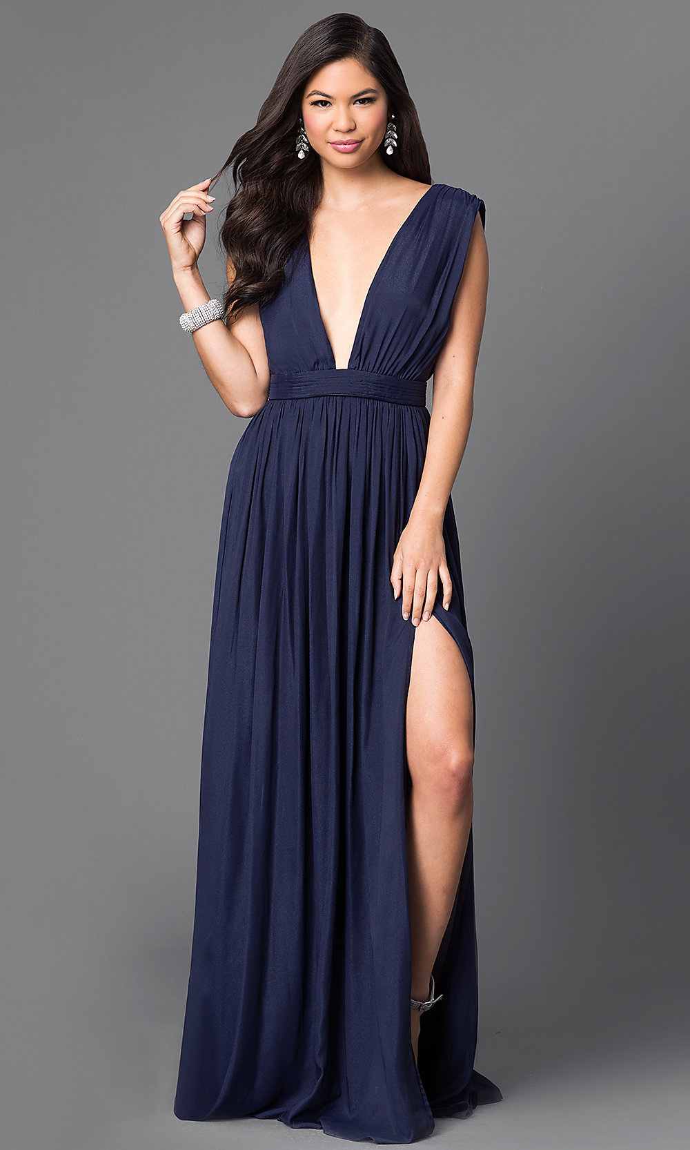 ... deep v-neck long dress with slit. Style  Tap to expand e18dec5b8672