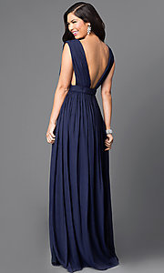 Image of metallic-chiffon deep v-neck long dress with slit. Style: CQ-5044DW Back Image