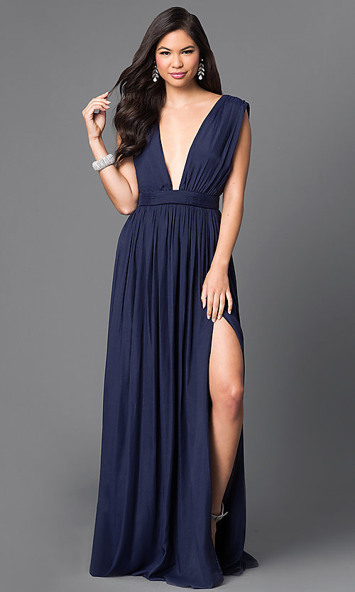 Image of metallic-chiffon deep v-neck long dress with slit. Style: CQ-5044DW Front Image