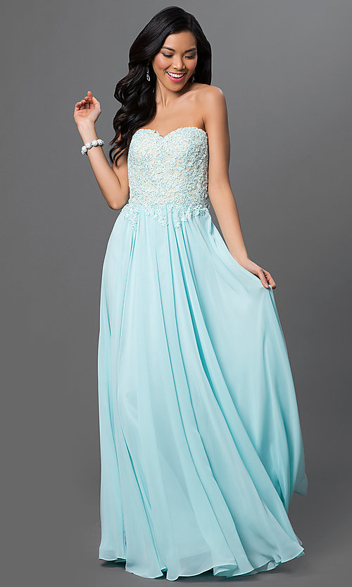 Image of strapless floor-length prom dress with corset back. Style: DQ-9312 Detail Image 1