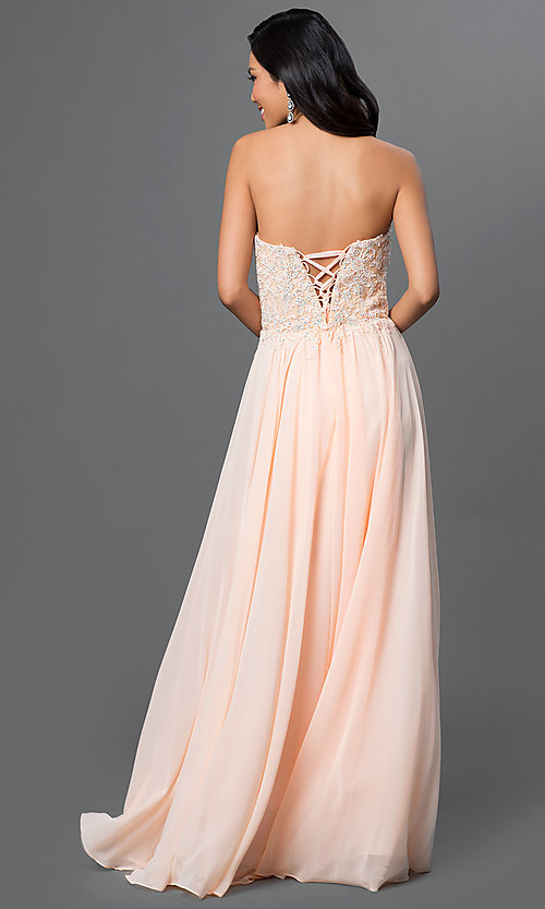 Image of strapless floor-length prom dress with corset back. Style: DQ-9312 Back Image