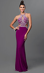 Image of open-back long prom dress with jeweled bodice. Style: DQ-9360 Detail Image 1